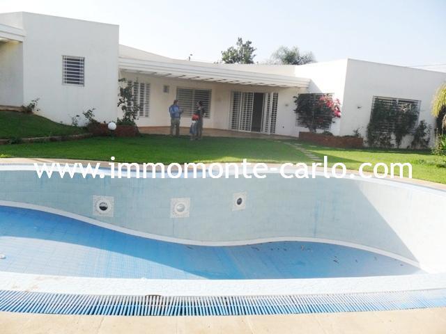Rabat location d'une villa avec chauffage et piscine à Souissi